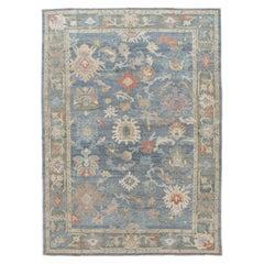 Modern Blue Sultanabad Handmade Floral Wool Rug