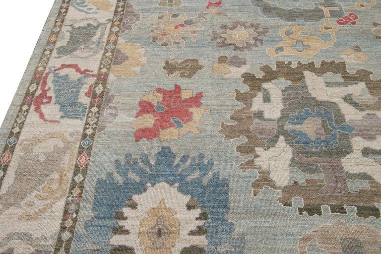 Modern Blue Sultanabad Handmade Wool Rug For Sale 4