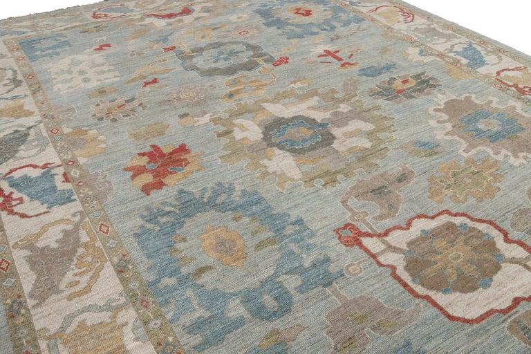 Modern Blue Sultanabad Handmade Wool Rug For Sale 6