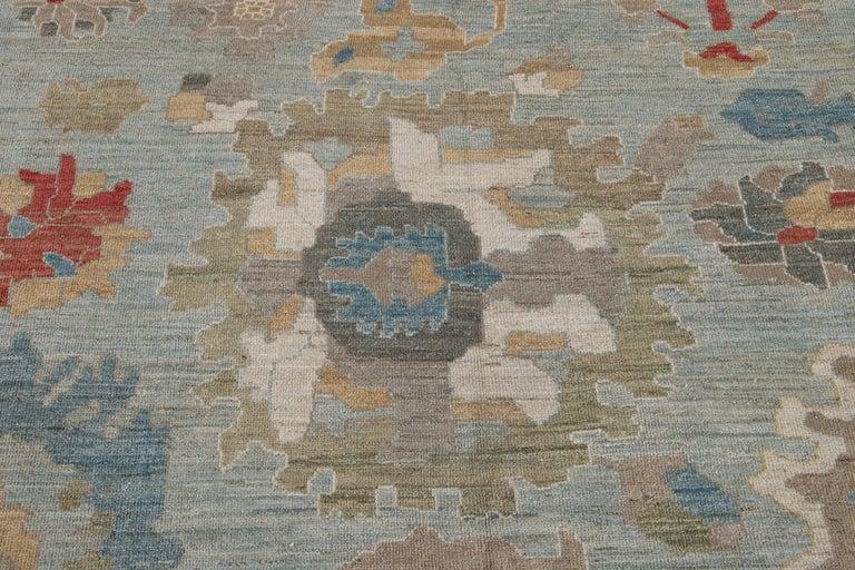 Modern Blue Sultanabad Handmade Wool Rug For Sale 7