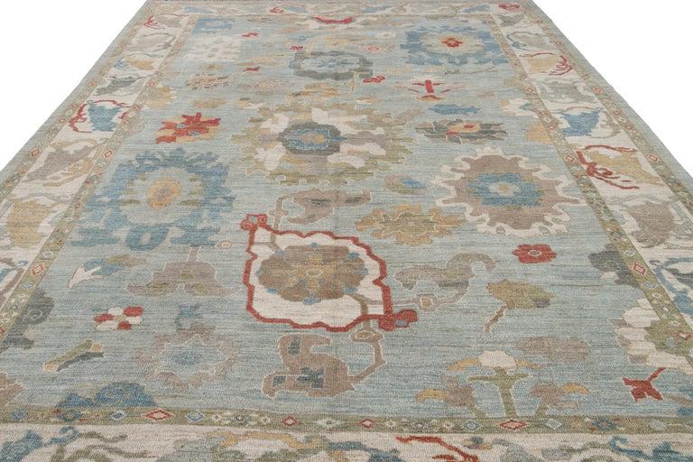 Asian Modern Blue Sultanabad Handmade Wool Rug For Sale