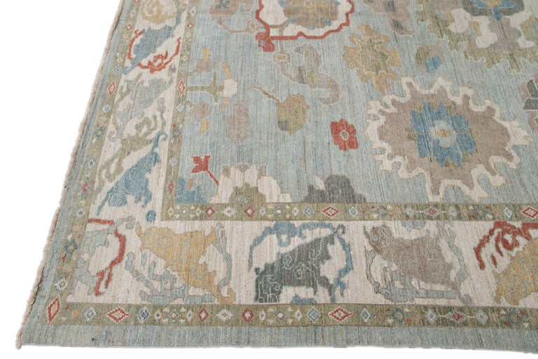 Hand-Knotted Modern Blue Sultanabad Handmade Wool Rug For Sale