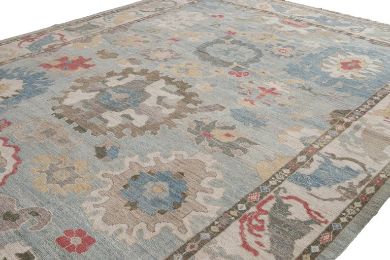 Contemporary Modern Blue Sultanabad Handmade Wool Rug For Sale