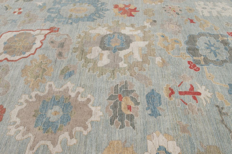 Modern Blue Sultanabad Handmade Wool Rug For Sale 1