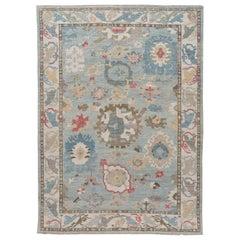 Modern Blue Sultanabad Handmade Wool Rug