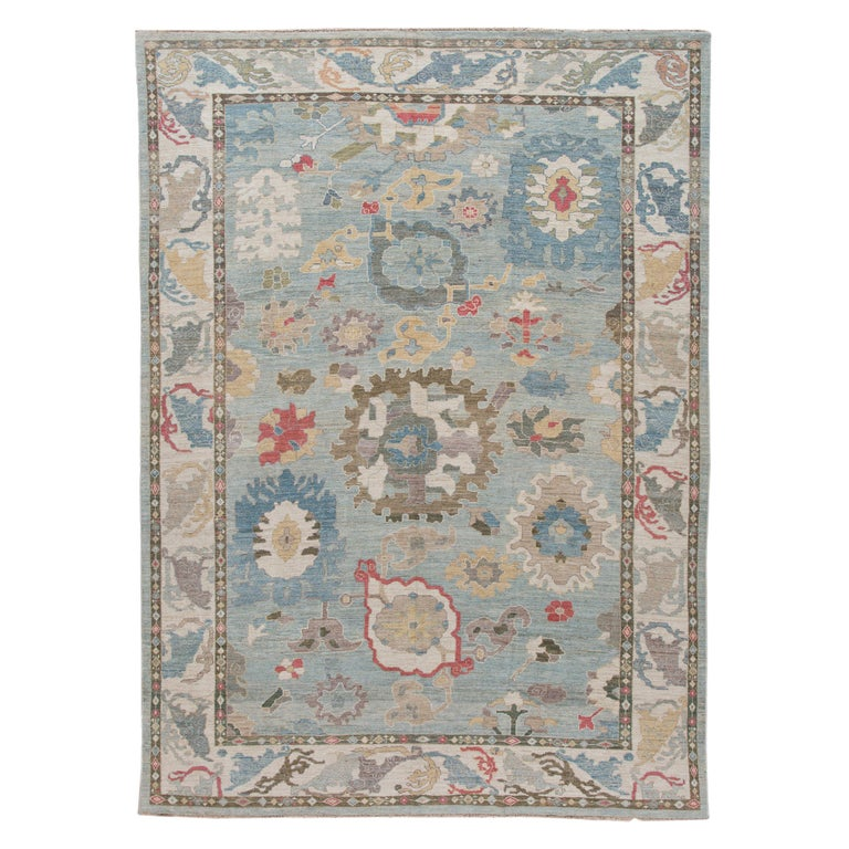 Modern Blue Sultanabad Handmade Wool Rug For Sale