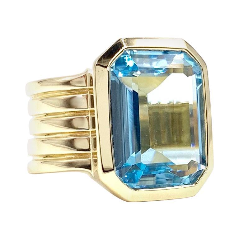 Modern Blue Topaz Wide Yellow Gold Ring
