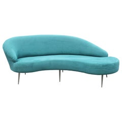Modern Blue Velvet Serpentine / Cloud Sofa by Directional