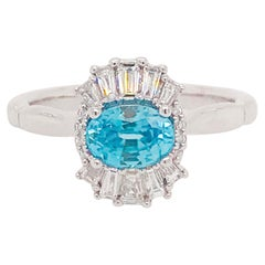 Modern Blue Zircon and Diamond Baguette Engagement Ring in White Gold