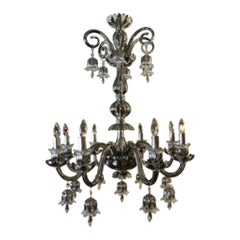Modern Bohemian Style Eight-Light Platinum Chandelier with Removable Shades