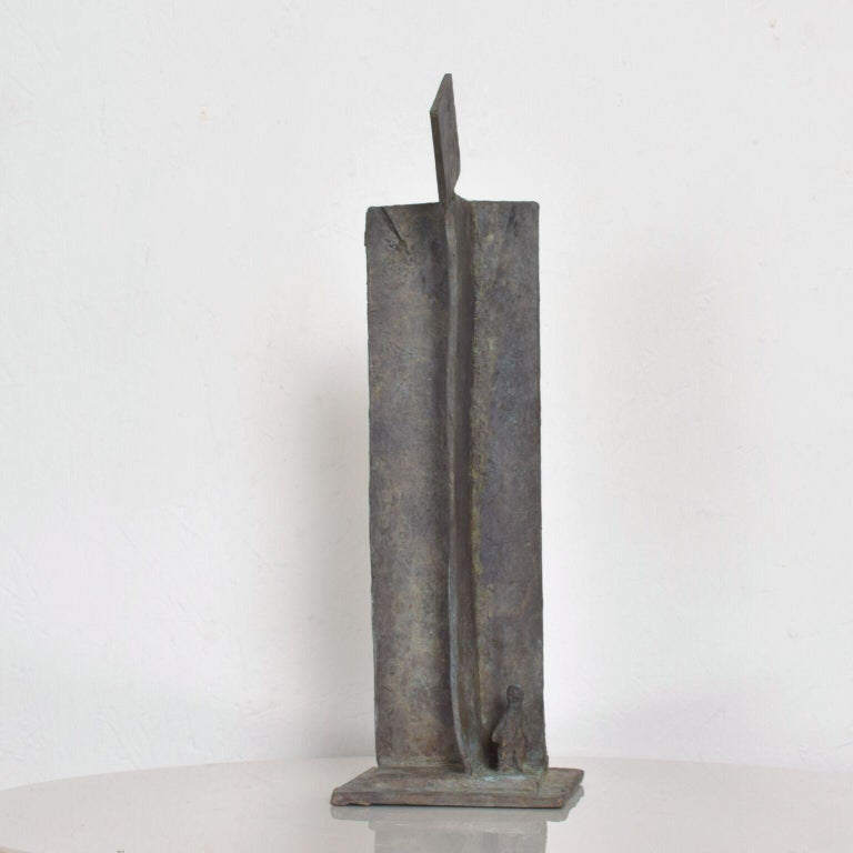 For your consideration: Very modern bold architectural landscape sculpture in bronze with figures included.   Dimensions: 14 1/2