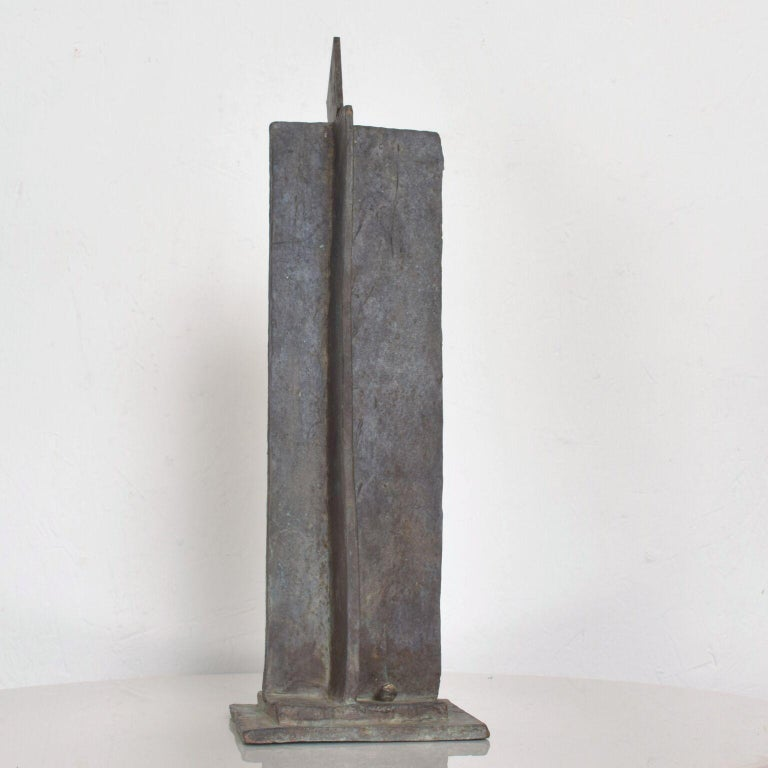 Modern Bold Bronze Sculpture Architectural Landscape with Figures In Good Condition For Sale In National City, CA