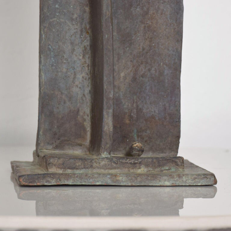 Late 20th Century Modern Bold Bronze Sculpture Architectural Landscape with Figures For Sale