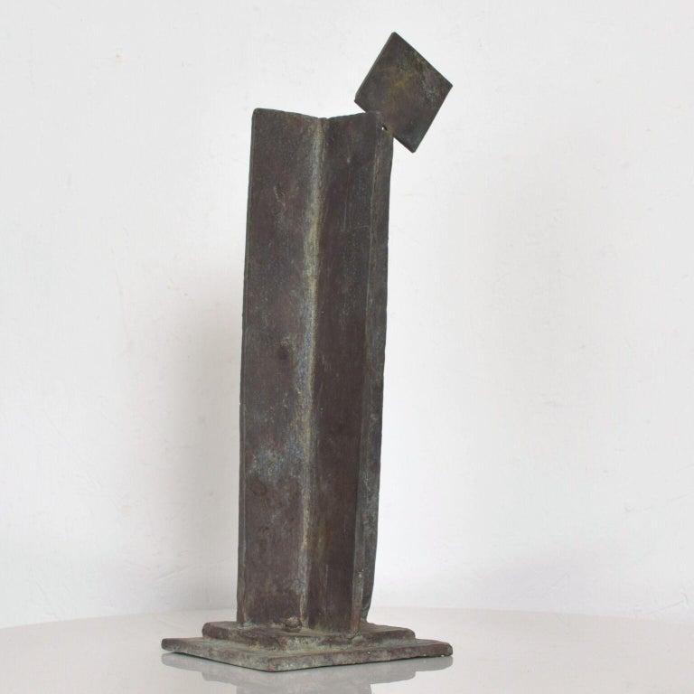 Modern Bold Bronze Sculpture Architectural Landscape with Figures For Sale 1