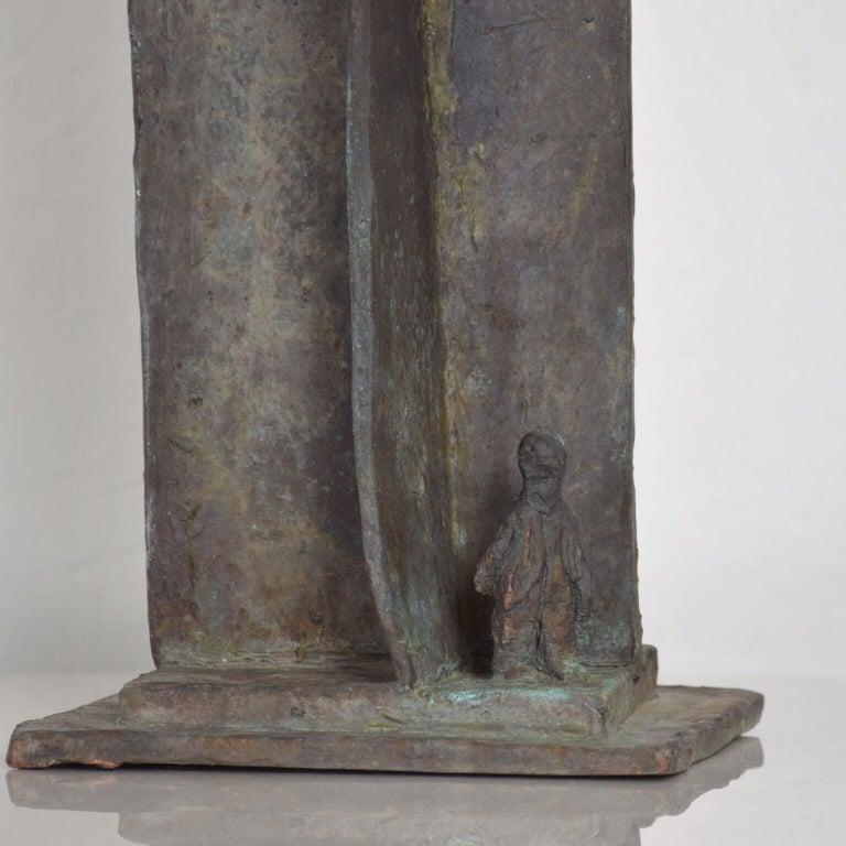 Modern Bold Bronze Sculpture Architectural Landscape with Figures For Sale 2