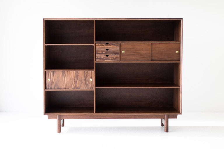 Walnut Modern Bookcase Cabinet The Peabody Collection For Sale