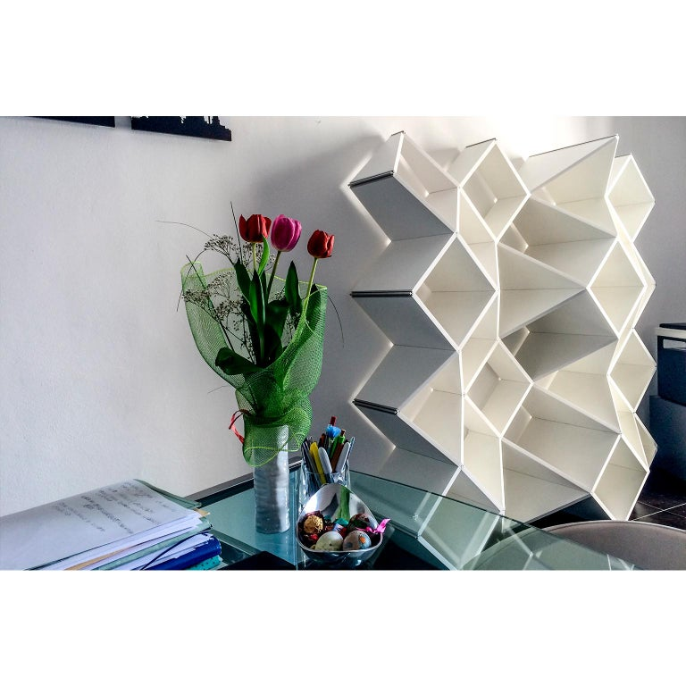 Modern Bookcase in Pvc Foam and Extruded Aluminum, X.me 4x4 #02 For Sale 1