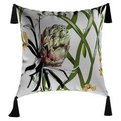 Modern Botanical Cushion, Flower Pattern Velvet Pillow Black Fringes Tassels