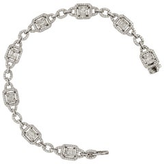 Modern Bracelet in Art Deco Style 18K White Gold with Baguette & Round Diamonds