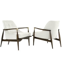 Modern Brass-Accented Walnut Lounge Chairs