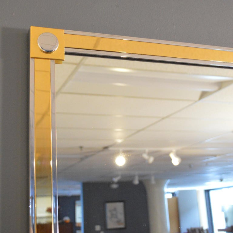 20th Century Modern Brass and Chrome Wall Mirror For Sale