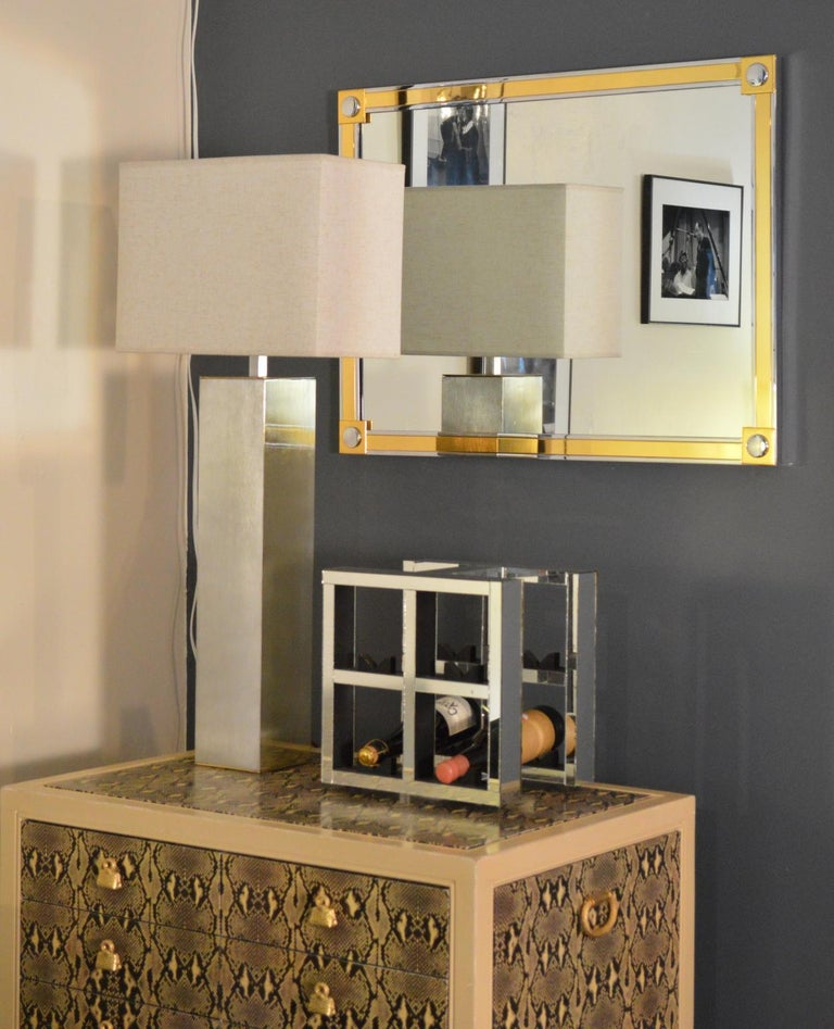 Modern Brass and Chrome Wall Mirror For Sale 1