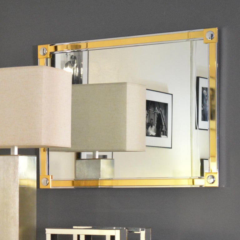 Modern Brass and Chrome Wall Mirror For Sale 2