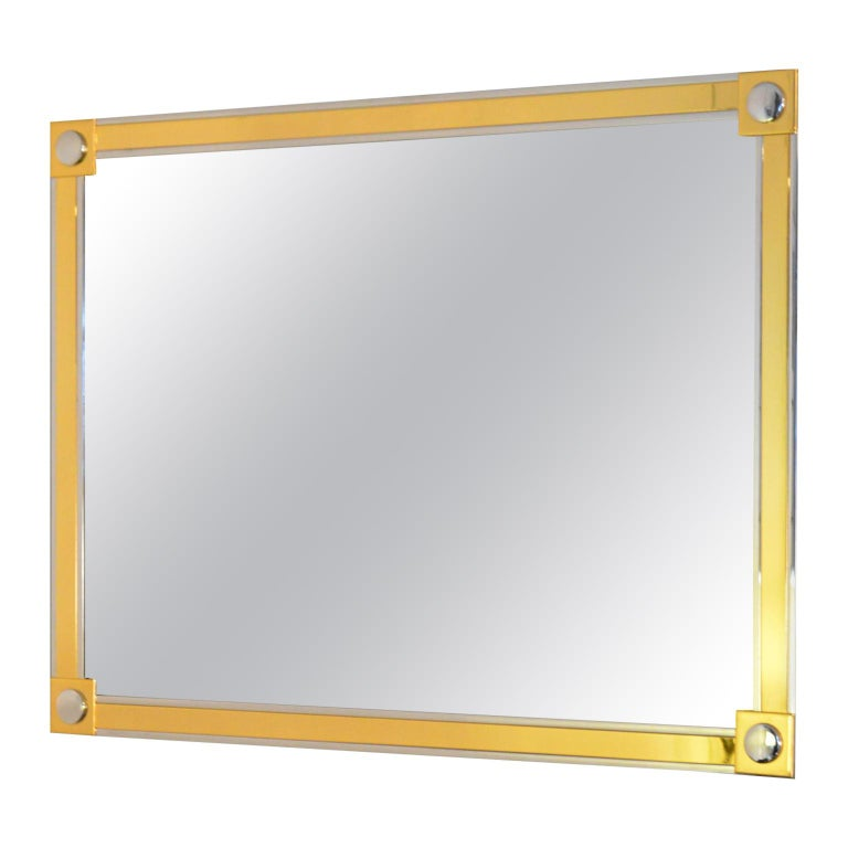 Modern Brass and Chrome Wall Mirror For Sale