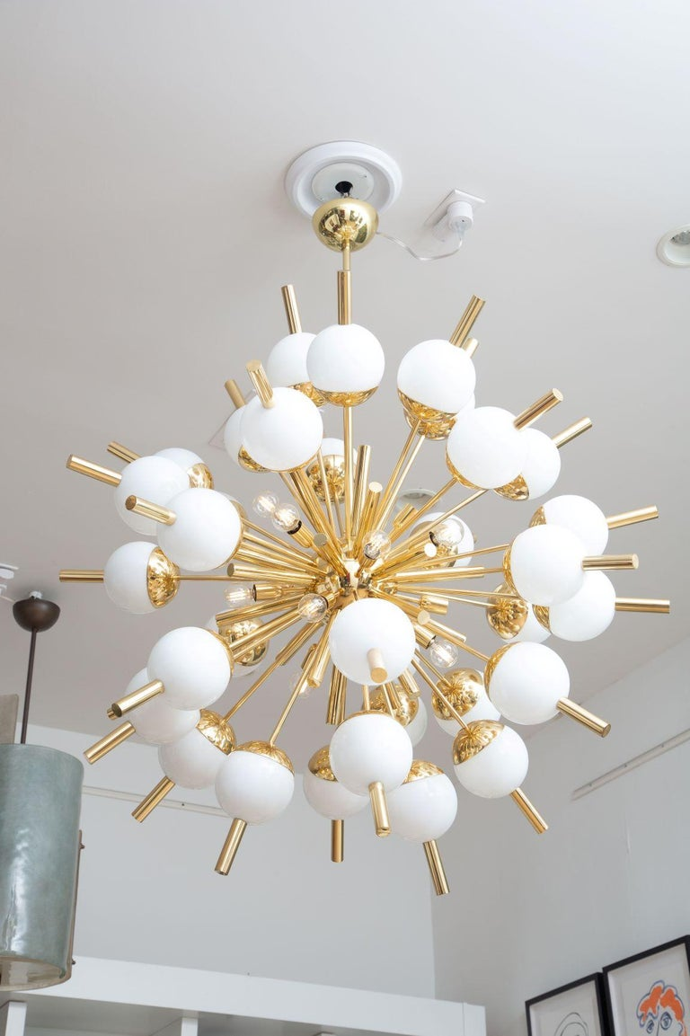 Modern Brass and Glass Sputnik Chandelier, in Stock For Sale 4