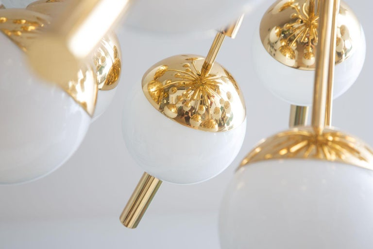 Modern Brass and Glass Sputnik Chandelier, in Stock For Sale 6