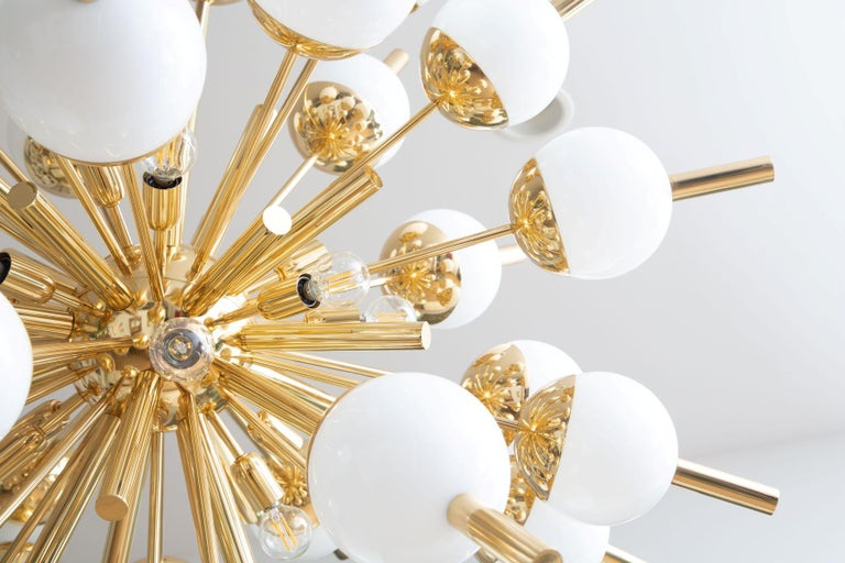 Mid-Century Modern Modern Brass and Glass Sputnik Chandelier, in Stock For Sale