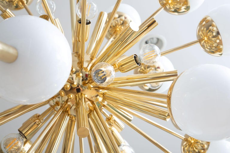Modern Brass and Glass Sputnik Chandelier, in Stock In Excellent Condition For Sale In Miami, FL