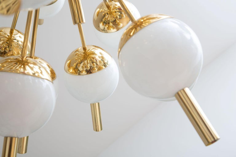 Contemporary Modern Brass and Glass Sputnik Chandelier, in Stock For Sale
