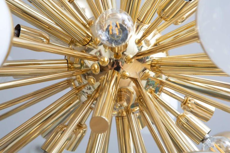 Modern Brass and Glass Sputnik Chandelier, in Stock For Sale 1