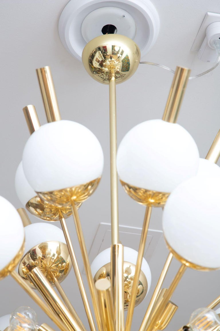 Modern Brass and Glass Sputnik Chandelier, in Stock For Sale 2