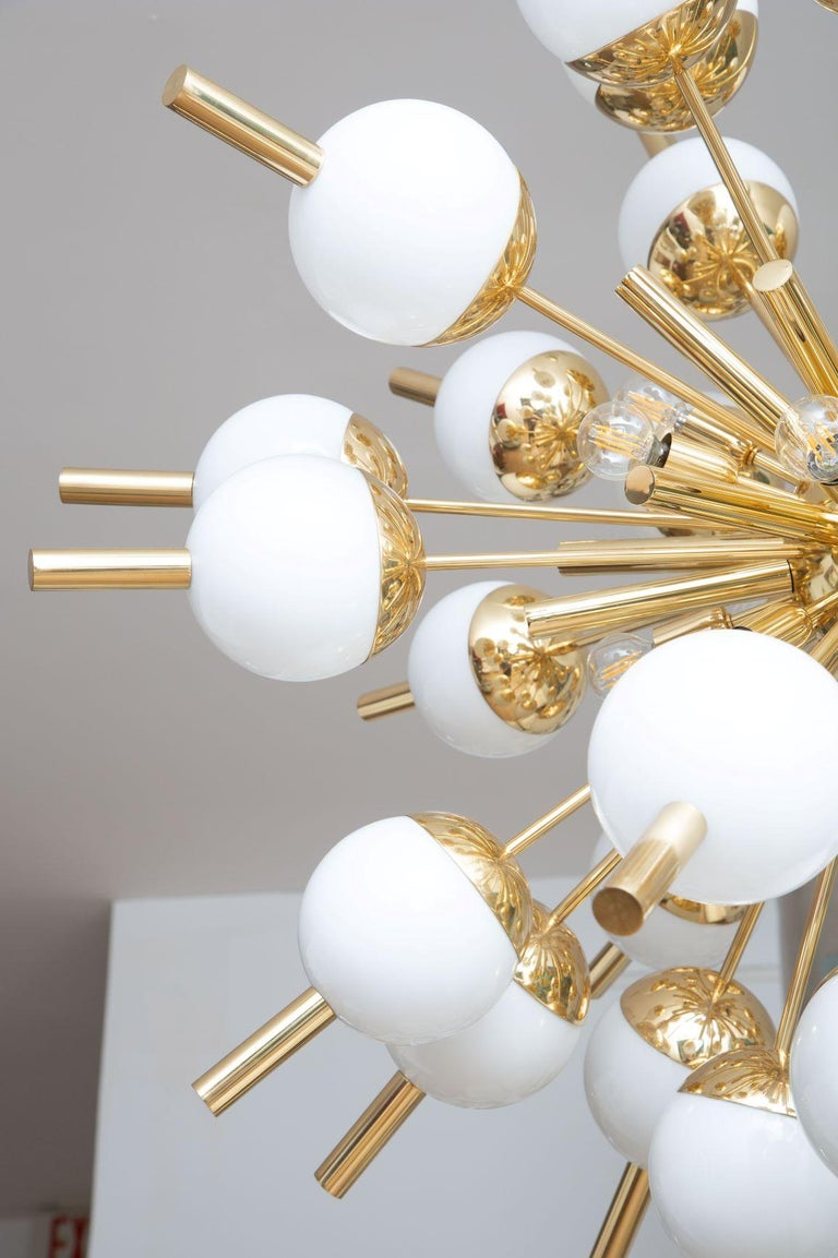 Modern Brass and Glass Sputnik Chandelier, in Stock For Sale 3