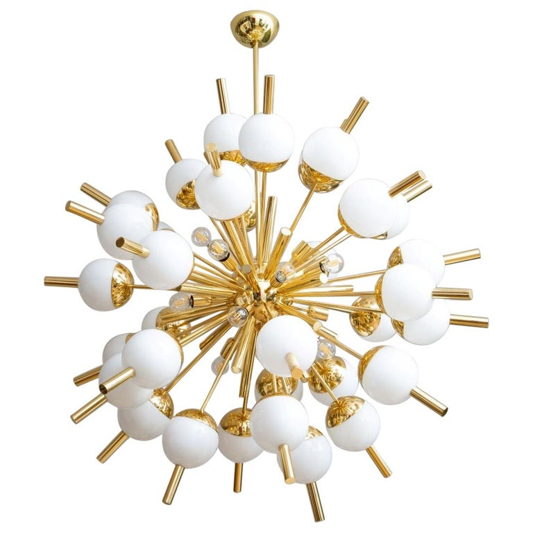Modern Brass and Glass Sputnik Chandelier, in Stock For Sale