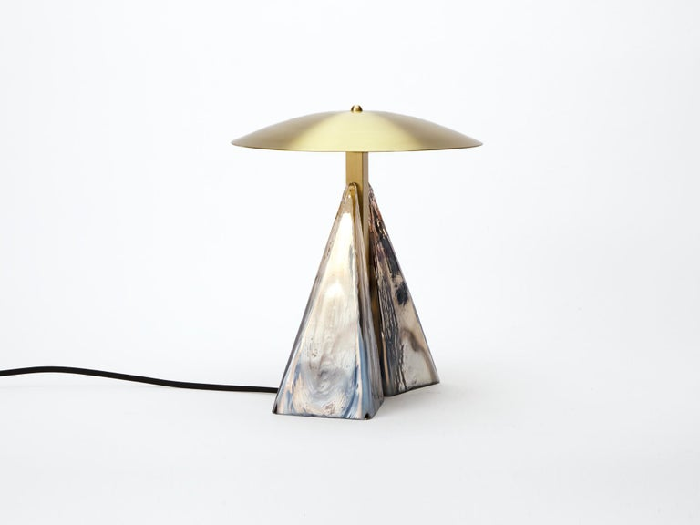 Art Deco Modern Brass and Hand Blown Mirrored Glass Fulcrum Table Lamp For Sale