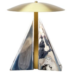 Modern Brass and Hand Blown Mirrored Glass Fulcrum Table Lamp