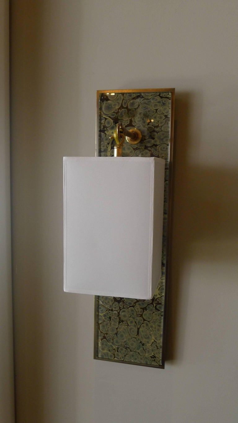 Contemporary Modern Brass and Marbleized Wall Sconce V2 by Paul Marra For Sale