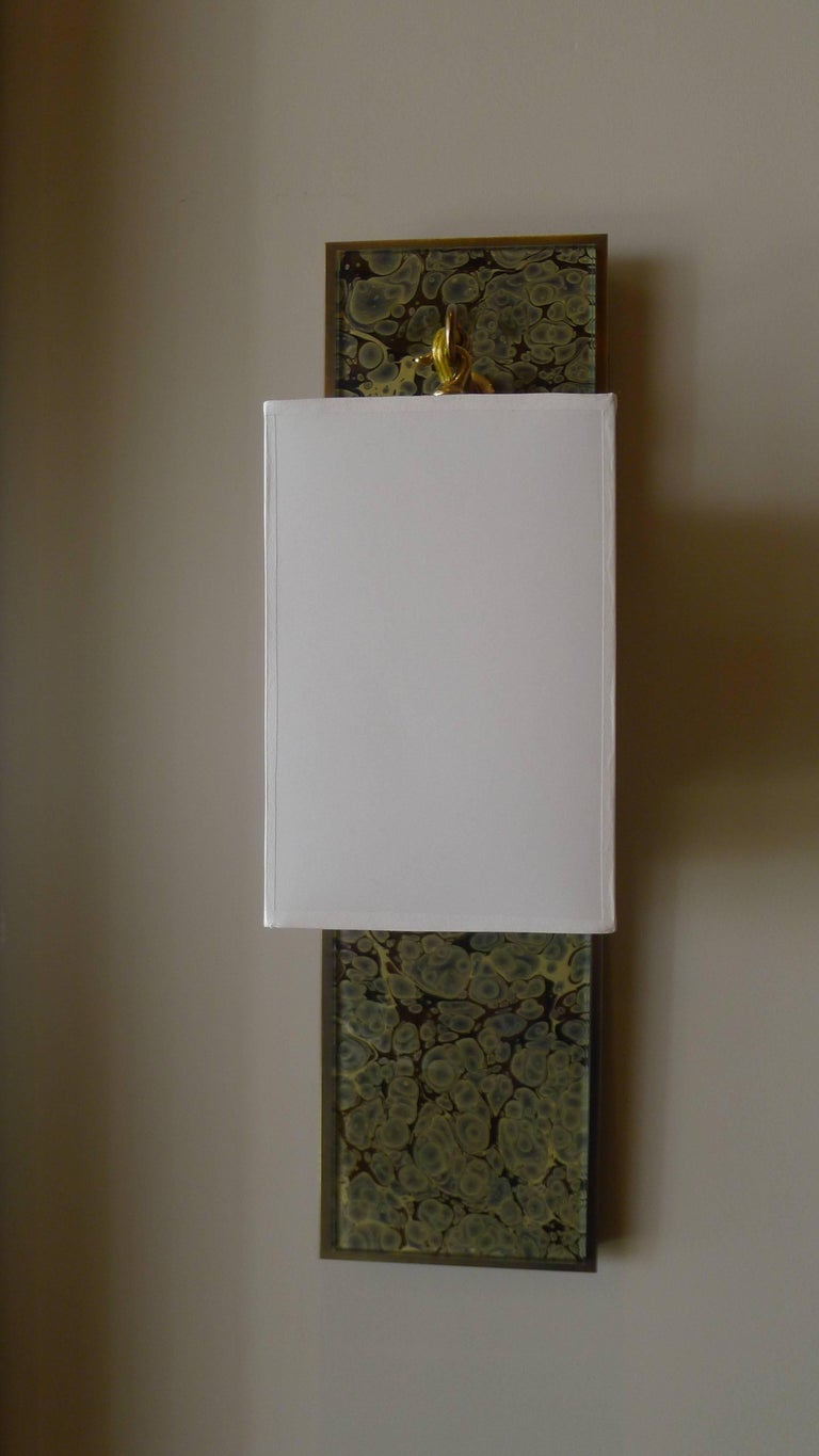 Modern Brass and Marbleized Wall Sconce V2 by Paul Marra For Sale 1