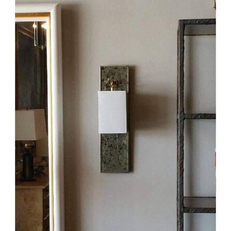 Modern Brass and Marbleized Wall Sconce V2 by Paul Marra For Sale 3