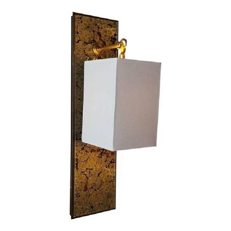 Modern Brass and Marbleized Wall Sconce V2 by Paul Marra For Sale