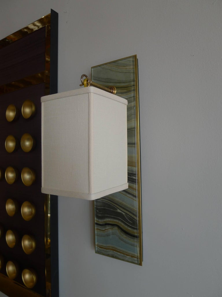 American Modern Brass and Marbleized Wall Sconce V2 by Paul Marra For Sale