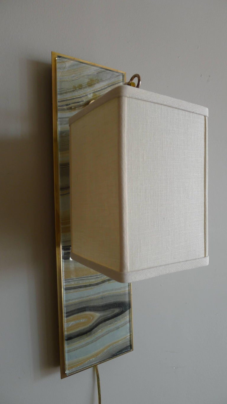 Modern Brass and Marbleized Wall Sconce V1 by Paul Marra In Excellent Condition For Sale In Los Angeles, CA
