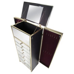 Modern Brass and Mirror Jewelry Chest
