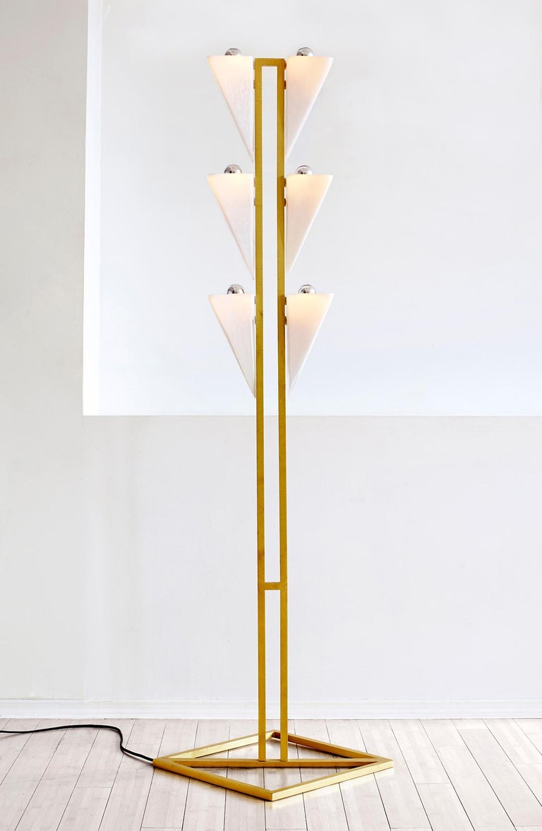 American Modern Brass and Mold Blown Glass Cyrus Floor Lamp For Sale