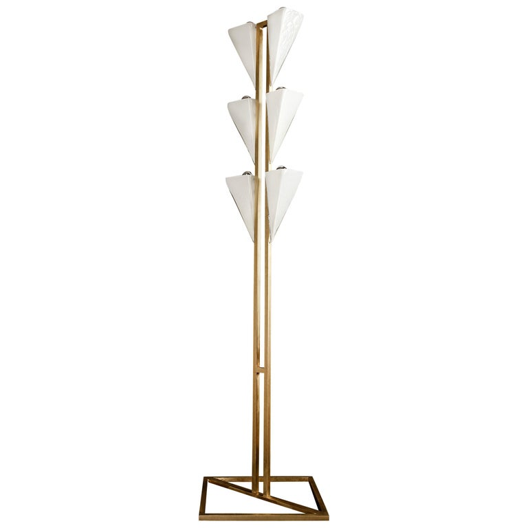 Modern Brass and Mold Blown Glass Cyrus Floor Lamp For Sale