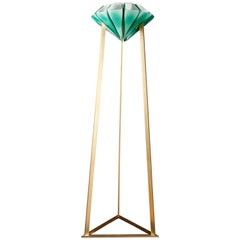 Modern Brass and Mold Blown Glass Yassin Floor Lamp