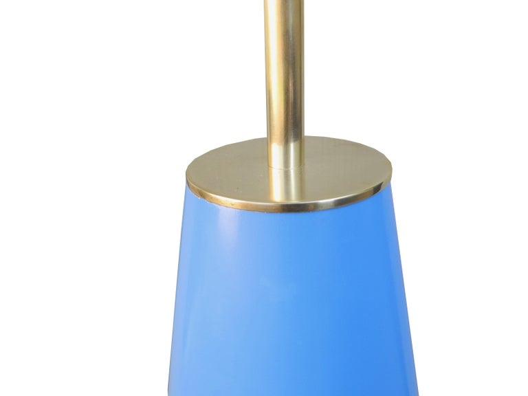 Modern Brass and Painted Blue Wood Lamp by Hansen For Sale 1